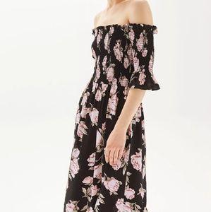 Topshop midi shirred dress